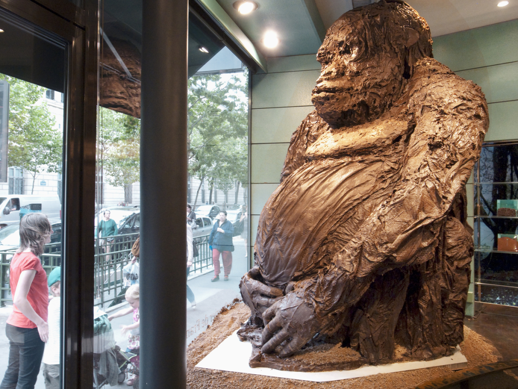 A giant gorilla, made in chocolate, stands in the shop window of a chocolate-maker and seller, Paris - 2011