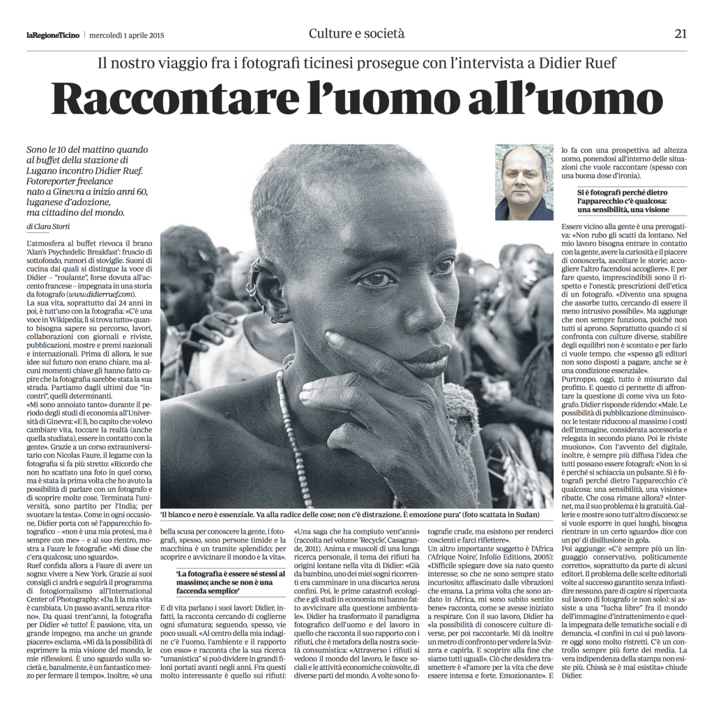 La Regione, Apri 1, 2015. Pages 21 (click image to enlarge)
