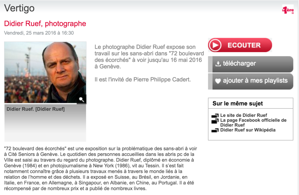Didier Ruef interviewed by Pierre Philippe Cadert on RTS - 2016