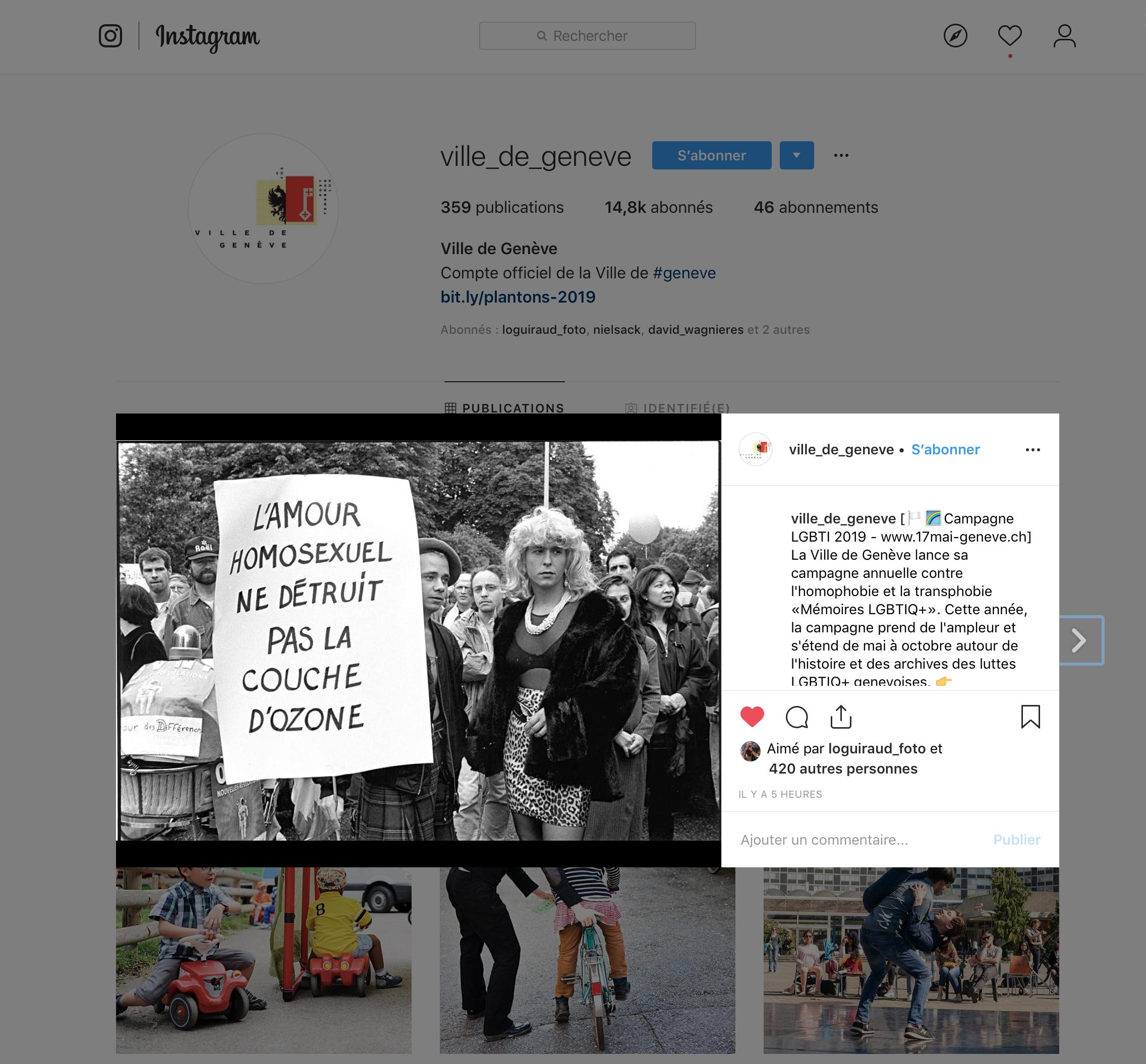 Vile de Genève. Instagram. Campagne LGBTI 2019 .(click image to enlarge)
