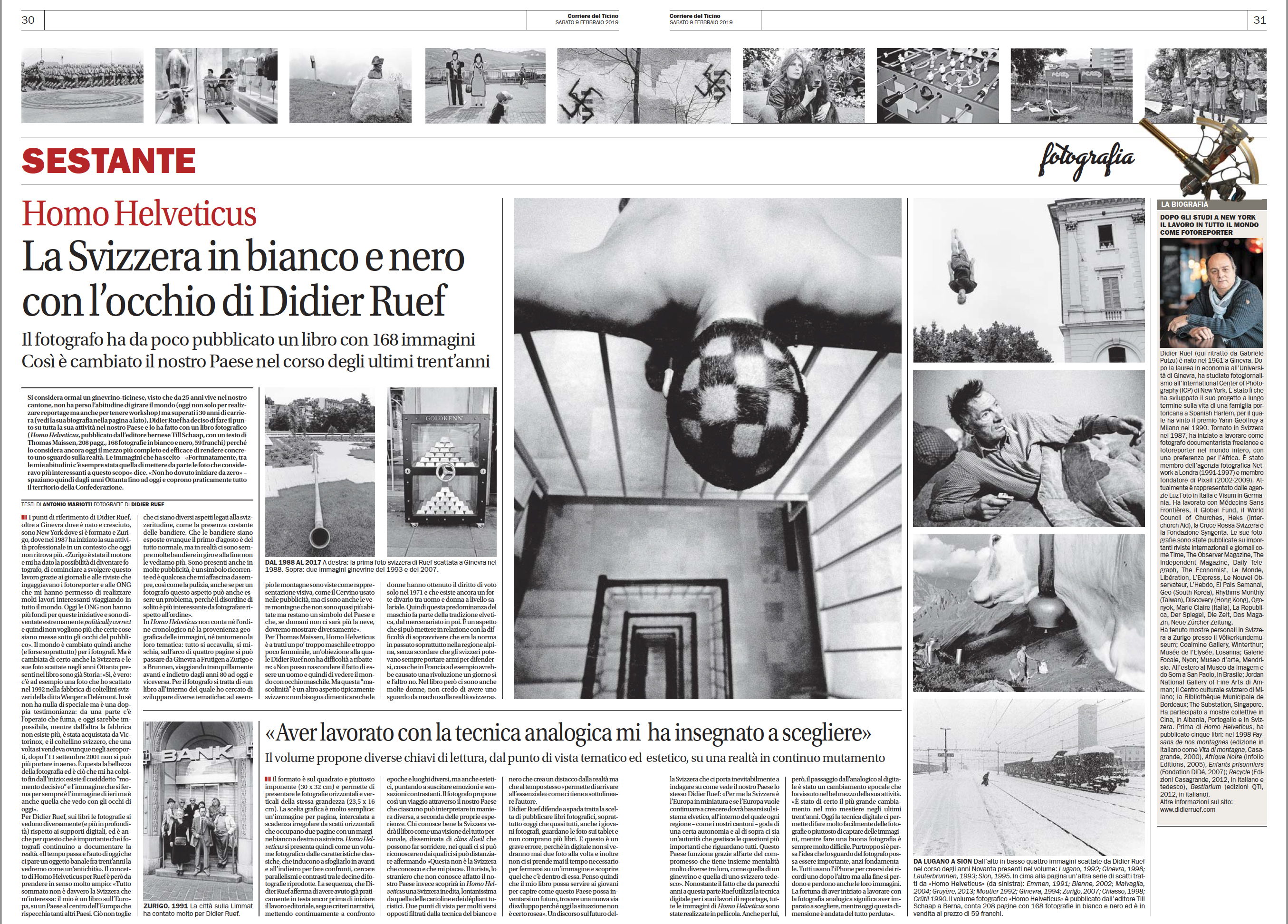 Corriere del Ticino. February 9th, 2019. Pages 30-31 (click image to enlarge)